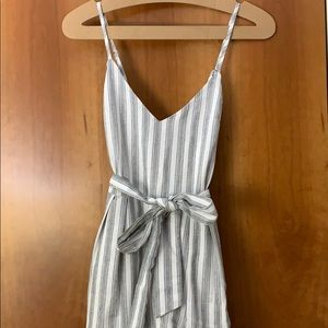 Lulus Nelson Black and White striped midi dress